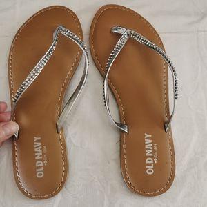 Old Navy Silver Rhinestone Bling Flip Flop Sandals